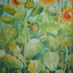 Zonnebloemen groot,  olie, 60 x 120 cm